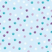 Seamless Pattern With Dog Paws Colorful Cute Paws Pattern poster
