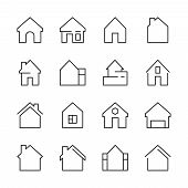 House Icon. Web Symbols Buildings Interior Garage Doors Roof House Vector Linear Template. House Apa poster