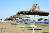 stock photo of larnaca  - Mediterranean sea empty beach in Larnaca Cyprus - JPG