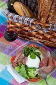 stock photo of nic  - Delicious italian salad with mozzarella bufala and ham - JPG