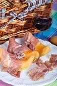pic of nic  - Fresh cantaloupe melon with italian Parma ham - JPG