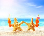 Crazy Starfish Having Fun On Summer Beach. Summer Concept. Beach Party. poster