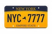 Vehicle Registration Of New York Registration Plates Nummer Car. Vector Illustration. poster
