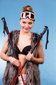 Winter Sport Activity Concept. Atractive Smiling Girl Wearing Black Bra, Ski Goggles And Furry Waist poster
