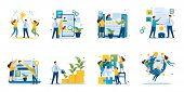 Set Of Mini Business Concepts Of Entrepreneurs. Concepts For Web Design. poster