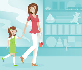 image of mother child  - Cute Mom and her excited daughter shopping together at a toy store - JPG