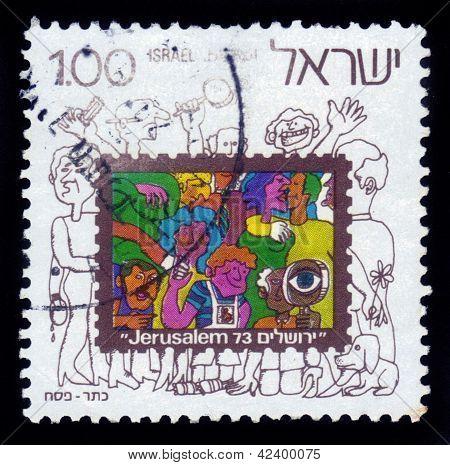 Humorous Image Of Visitors International Philatelic Exhibition In Jerusalem In 1973