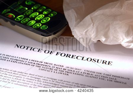 Real Estate Foreclosure Notice with Tissue