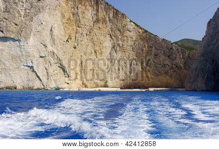 People on shipwreck beach at Zakynthos island