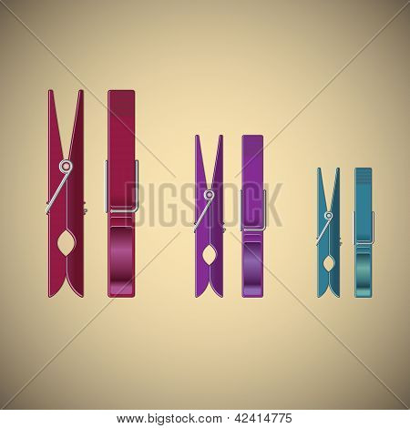 Clothes Pin Set On Gradient Background