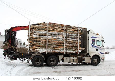 Logging Truck Trailer Full Of Logs