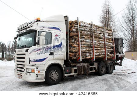 Logging Truck Trailer Full Of Logs