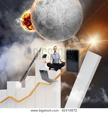 Businesswoman sitting on bars in lotus flower position against space background with office stuff aloft