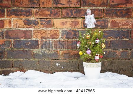 Small Decorated Christmas Tree Abandoned