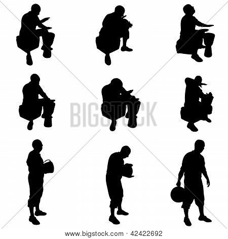 Man Playing The Drums Vector Illustration