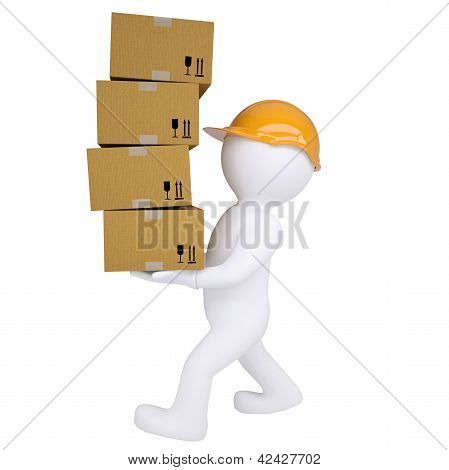 3d man carries boxes