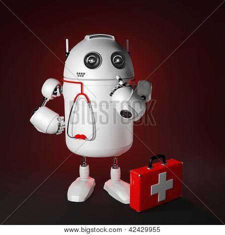 Robô médica. Conceito de reparação do computador