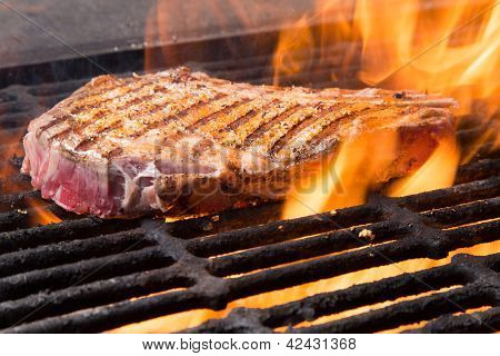 Raw Steak On A Grill