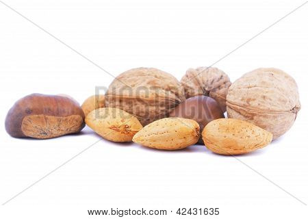 Assorted Nuts On White