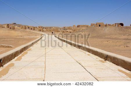 Desert Road And Ruins