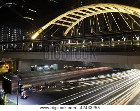 Pubic Skywalk With Modern Buildings Of Bangkok Downtown Square In Business Zone