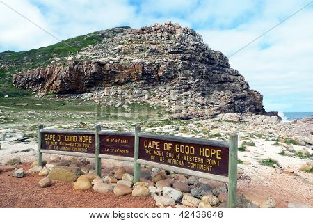 Cape of Good Hope, the most South-Western  point of African continent