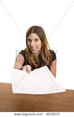 Woman Handing Over Paper