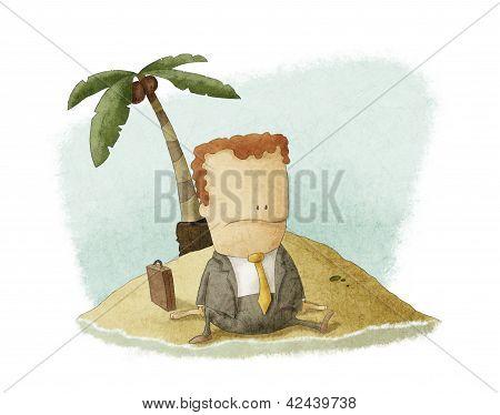 náufrago de hombre de negocios en la isla