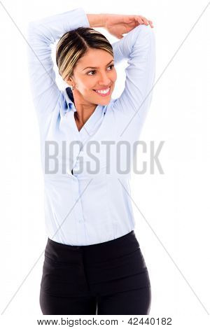 Business woman stretching her arm and smiling - isolated over white