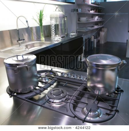 Modern Kitchen With Saucepan