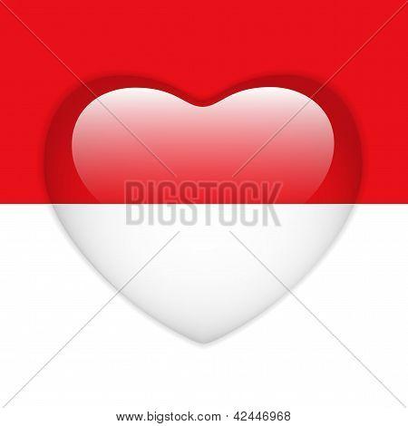 Monaco Flag Heart Glossy Button