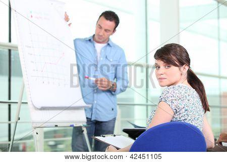 Sales figures meeting