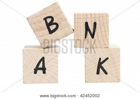 Word Bank Written With Wooden Blocks.