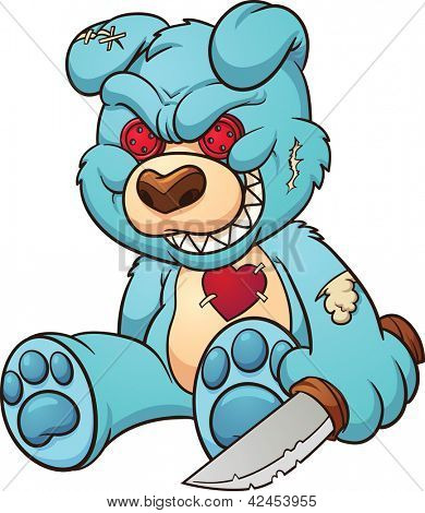 Evil teddy bear. Vector clip art illustration with simple gradients. All in a single layer.