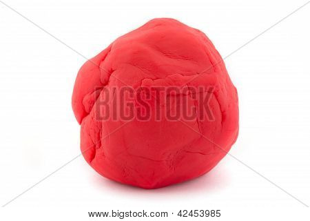 Ball Of Red Play Dough On White