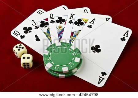 Playing Cards (royal Flush), Casino Chips And Dices