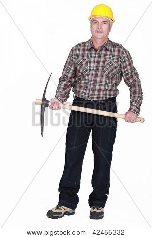 Middle-aged man with Axe
