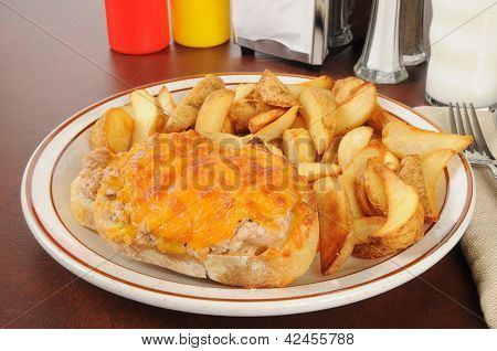 Tuna Melt Wiht Potato Wedges