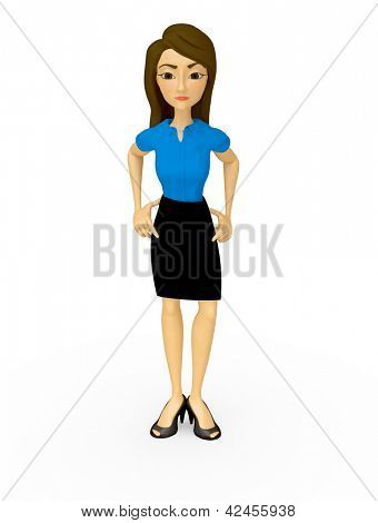 3D Bossy businesswoman - isolated over a white background