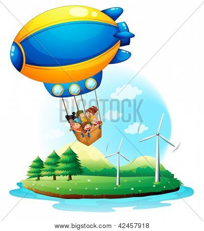 Blimp with kids over an island
