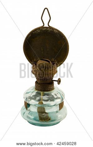 Rusty Retro Paraffin Light Tool Isolated White