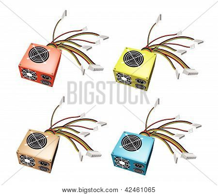 Colorful Illustration Set Of Power Supply Box