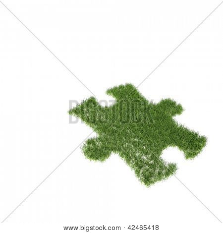 Green grass growing as a puzzle on a white background