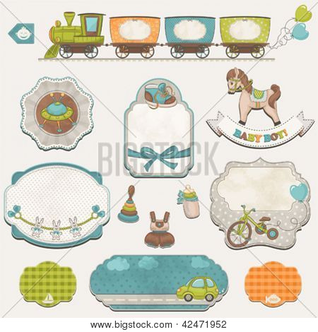 Collection of baby boys symbols, toys and labels with an empty seat for your text.