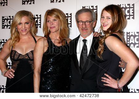 LOS ANGELES - FEB 17:  Jessica Capshaw, Kate Capshaw, Steven Spielberg, Destry Allyn Spielberg arrive at the 63rd Annual ACE Awards at the Beverly Hilton on February 17, 2013 in Beverly Hills, CA