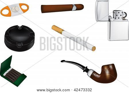 Smoking and Tobacco realistic vector illustrations