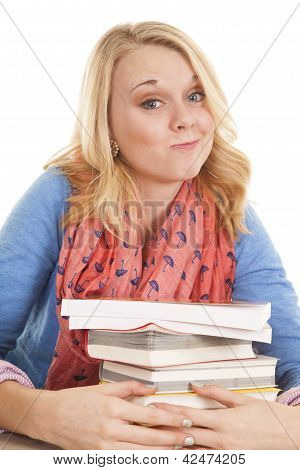 Girl With Books Smirk