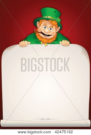St. Patrick's Day Greeting Card or Background with Cartoon Leprechaun. Vector