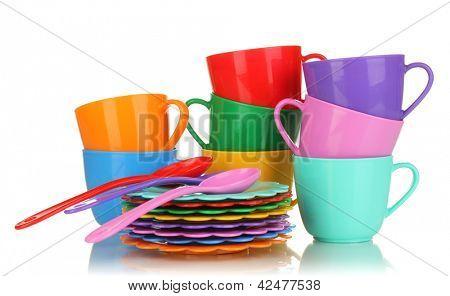 Children's plastic tableware isolated on  white