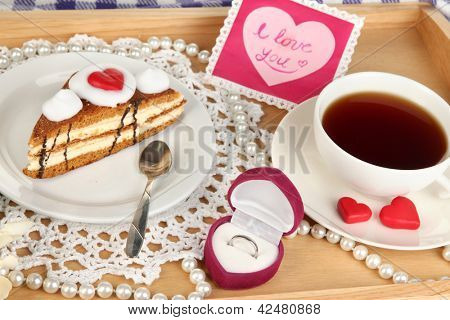 Breakfast in bed on Valentine's Day close-up